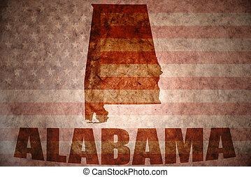 Vintage alabama map - alabama map on a vintage american flag...
