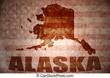 Vintage alaska map - alaska map on a vintage american flag...
