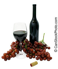 Red Wine - Red grapes, a bottle and a glass of wine.