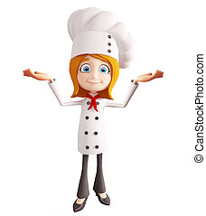 Chef character with  presentation sign