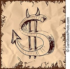 Devil dollar icon on vintage background - Devil dollar icon...