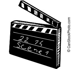 Clapperboard isolated on white Sketch vector illustration