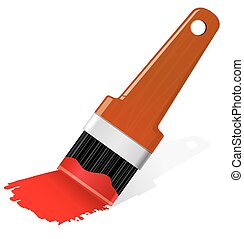 Brush with paint Eps 10 vector illustration