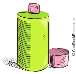 Graffiti spray can on a white background - Sketch cartoon...