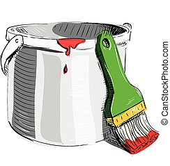 Paint bucket with brush sketch cartoon vector illustration