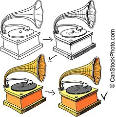 Vintage gramophone sketching progress Hand drawing sketch...