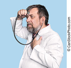 Mad doctor with a stethoscope - Humorous concept of health....