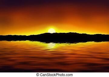 Beautiful sunset - Realistic illustration of a beautiful...