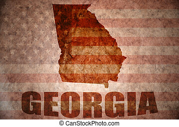Vintage georgia map - georgia map on a vintage american flag...