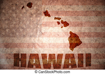 Vintage hawaii map - hawaii map on a vintage american flag...