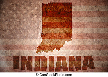 Vintage indiana map - indiana map on a vintage american flag...