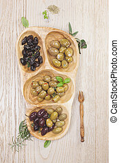 Assorted types of olives