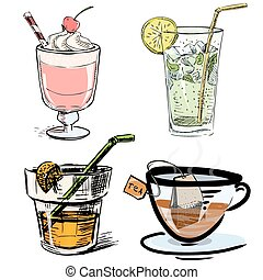 Non alcoholic drinks collection. - Isolated on white objects...