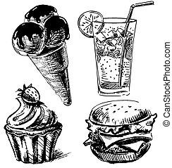 Fast food and desserts sketch collection - Isolated on white...