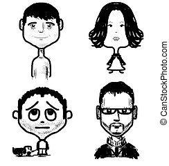 Different age people set Fast drawing sketch vector...