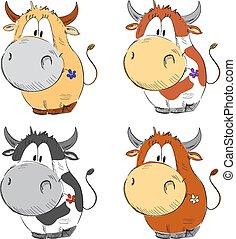 Cartoon funny cows.