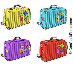 Journey suitcases. - Isolated on white objects set. Eps 10...