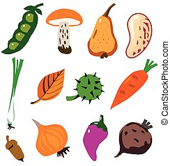 Vegetables doodle styled collection - Isolated on white...