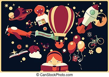 Imagination concept - girl reading a book with air balloon,...