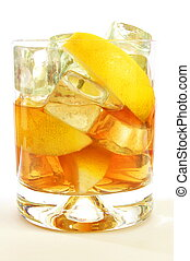 whisky on the rocks - glass of whisky on the rocks isolated...