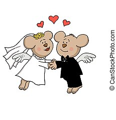 Married bear angels - Bear angels married holding hands in...