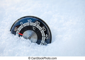 Thermometer in the snow - Cold weather low temperature...
