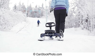 Girl with sledge - Beautiful girl takes away sled on road