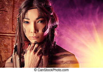 nationality - American Indian in traditional costume and...