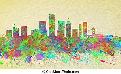 水彩, 團結, 藝術, 底特律, 國家, 地平線, 印刷品
