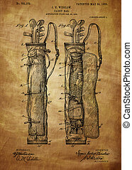 Golf Bag Patent 1905 - Vintage, Vintage patent artwork great...