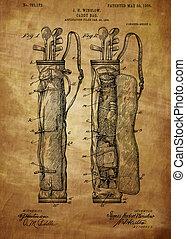Golf Bag Patent 1905 - Vintage, Vintage patent artwork great...