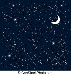 Space. Starry Sky with the Moon. Vector Illustration.