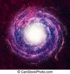 interstellar - a spiral galaxy in the black, dark space
