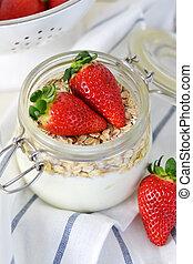 Fresh yogurt with strawberries
