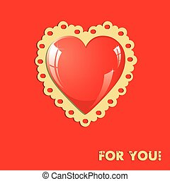 Valentine card with heart on red
