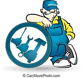 Repairman vector - Repairman with tool for a vector