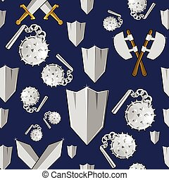 Ancient weapon cartoon background. Colorful seamless vector...