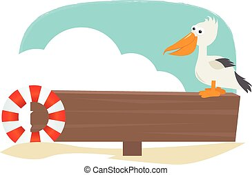 Pelican Sign - Blank wooden sign with a pelican and a float...