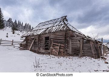 木製である, 家, 森林, 冬