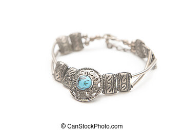 Turquoise stone in a silver bracelet