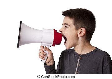 niño, con, orador,