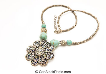Turquoise stone in a silver Necklace