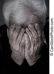 chorando, antigas, homem,