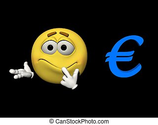 Emoticon embarrassed and euro - 3d render - Emoticon yellow...