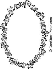 vector floral oval frame on white background
