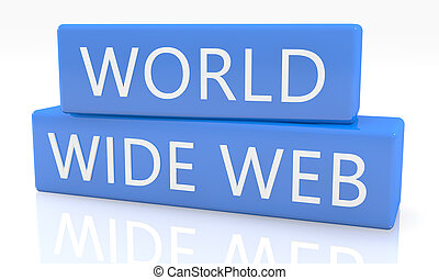 World Wide Web - 3d render blue box with text World Wide Web...