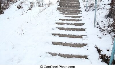 Broken stairs at countryside Everything is covered with snow...