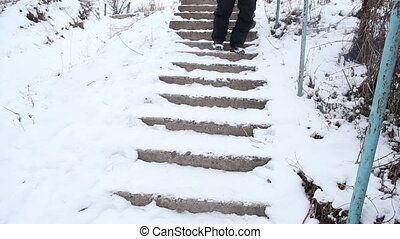 Man walking down the broken stairs - Man carefully walking...