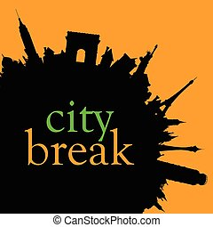 city break color vector illustration