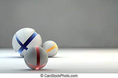 Abstract spheres with colored crissed surface, on matte...